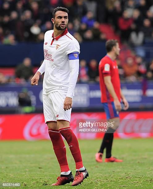 Sevilla's midfielder Vicente Iborra celebrates after scoring his team's second goal during the Spanish league football match CA Osasuna vs Sevilla FC...