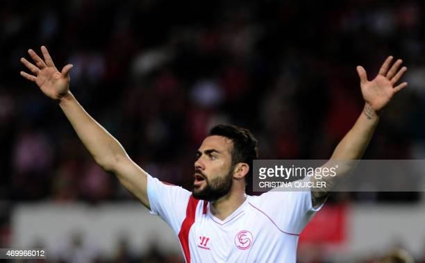 Sevilla's midfielder Vicente Iborra gestures during the UEFA Europa League quarterfinal first leg football match Sevilla FC vs Zenit Saint Petersburg...