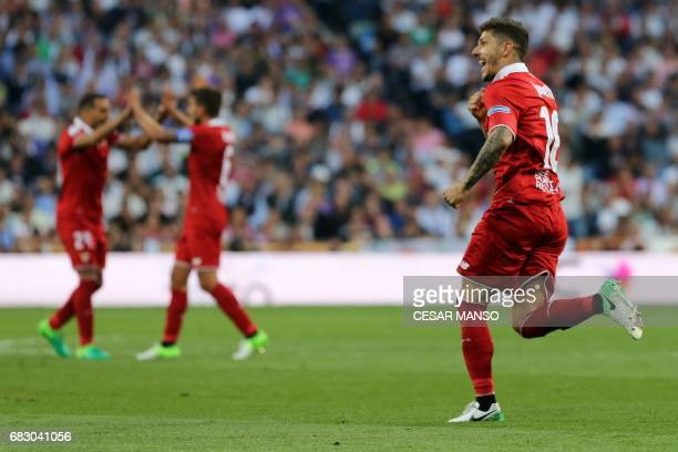 Sevilla's Montenegrin forward Stevan Jovetic celebrates a goal during the Spanish league football match Real Madrid CF vs Sevilla FC at the Santiago...