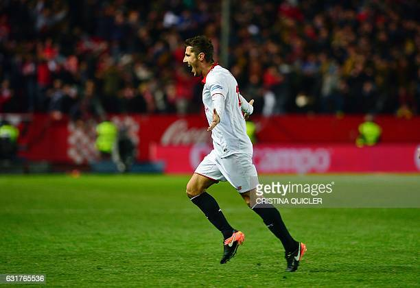 Sevilla's Montenegrin forward Stevan Jovetic celebrates after scoring their 21 victory goal during the Spanish league football match Sevilla FC vs...