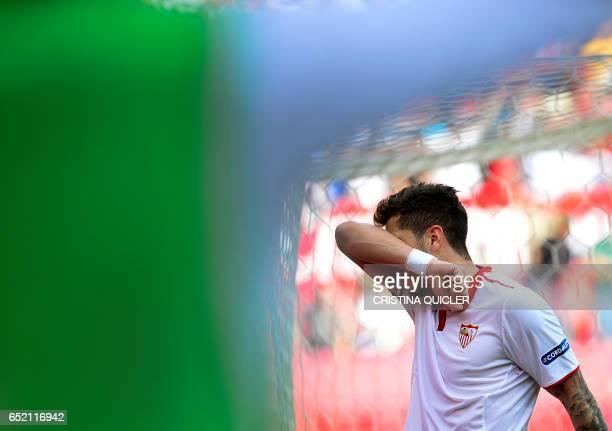 Sevilla's Montenegrin forward Stevan Jovetic celebrates after scoring during the Spanish league football match Sevilla FC vs Club Deportivo Leganes...