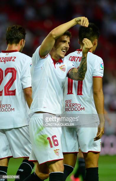 Sevilla's Montenegrin forward Stevan Jovetic celebrates after scoring a goal during the Spanish league football match Sevilla FC vs CA Osasuna at the...