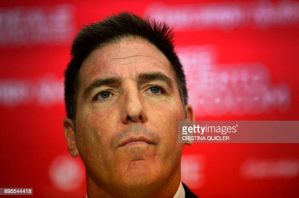 Sevilla's new coach Argentinian Eduardo Berizzo looks on during his presentation to the press at the Sanchez Pizjuam stadium in Sevilla on June 13...