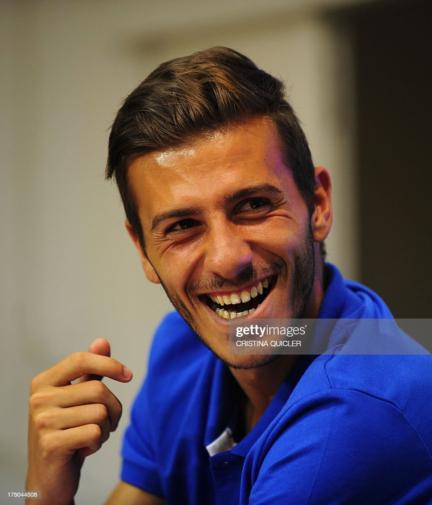 Sevilla's new Portuguese defender Diogo Figueiras reacts during his presentation in Sevilla on July 30, 2013.