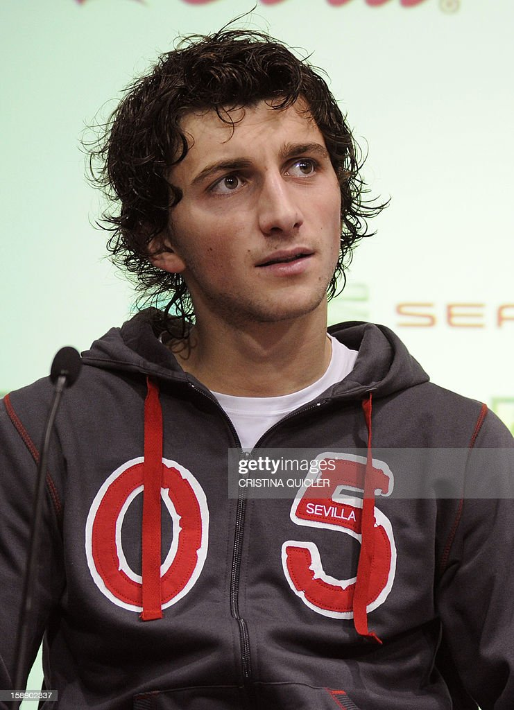 Sevilla's new signing, Bosnian midfielder Miroslav Stevanovic speaks during his presentation to the media in Sevilla on January 3, 2013. Spanish league football club FC Sevilla signed Bosnian international midfielder Miroslav Stevanovic, 22, from Serbian club FK Vojvodina for around 1.6 million euros (2.11 million USD). AFP PHOTO / CRISTINA QUICLER
