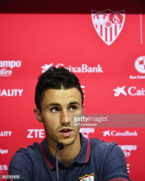 Sevilla's new signing Frenchman Sebastien Corchia looks on during his official presentation at the Sanchez Pizjuan Stadium in Seville on 25 July 2017...
