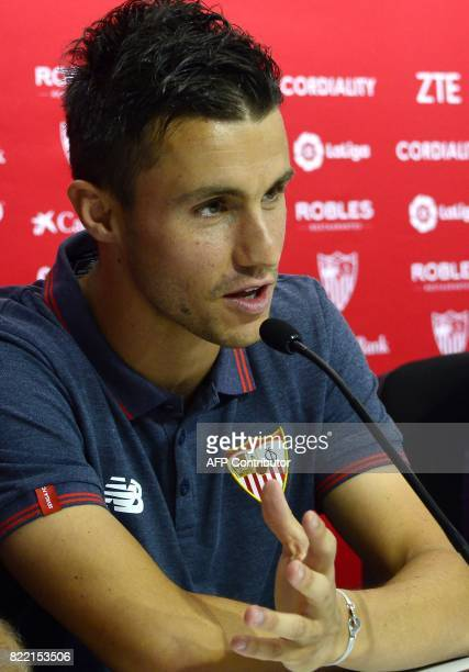 Sevilla's new signing Frenchman Sebastien Corchia speaks during his official presentation at the Sanchez Pizjuan Stadium in Seville on 25 July 2017 /...