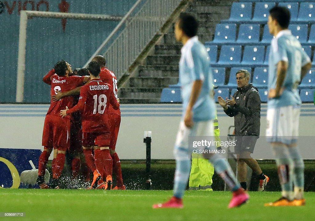 Sevilla's players celebrate a goal during the Spanish Copa del Rey semifinal second leg football match RC Celta de Vigo vs Sevilla FC at Balaidos...