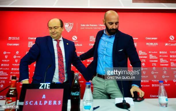 Sevilla's Sports director Ramon Rodriguez Verdejo aka Monchi and Sevilla president Jose Castro leave after a press conference held to announce that...