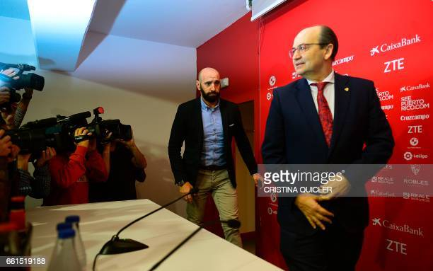 Sevilla's Sports director Ramon Rodriguez Verdejo aka Monchi and Sevilla president Jose Castro arrive for a press conference held to announce that he...