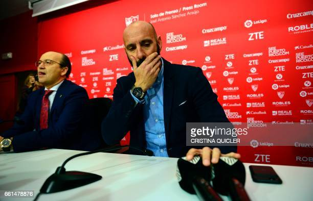 Sevilla's Sports director Ramon Rodriguez Verdejo aka Monchi gestures before a press conference held to announce that he will leave the Sevilla FC at...