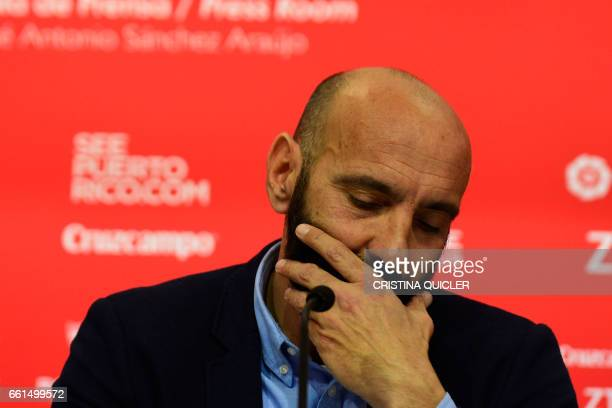 Sevilla's Sports director Ramon Rodriguez Verdejo aka Monchi gestures during a press conference held to announce that he will leave the Sevilla FC at...