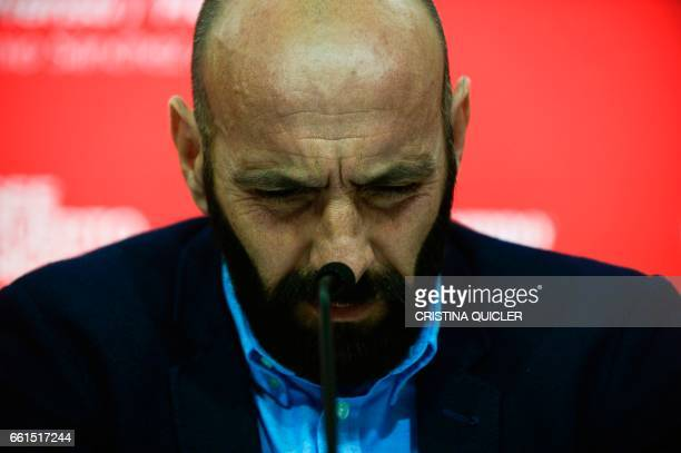 Sevilla's Sports director Ramon Rodriguez Verdejo aka Monchi looks down during a press conference held to announce that he will leave the Sevilla FC...