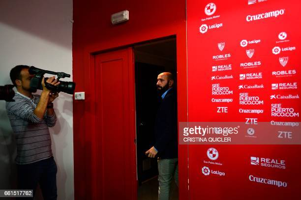 Sevilla's Sports director Ramon Rodriguez Verdejo aka Monchi looks at journalists as he leaves after a press conference held to announce that he will...