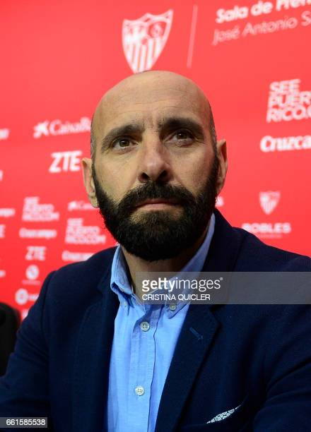 Sevilla's Sports director Ramon Rodriguez Verdejo aka Monchi looks on during a press conference held to announce that he will leave the Sevilla FC at...