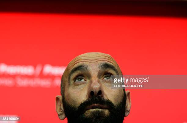 Sevilla's Sports director Ramon Rodriguez Verdejo aka Monchi looks up during a press conference held to announce that he will leave the Sevilla FC at...