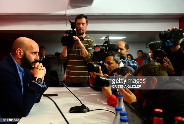 Sevilla's Sports director Ramon Rodriguez Verdejo aka Monchi poses for photographers before a press conference held to announce that he will leave...