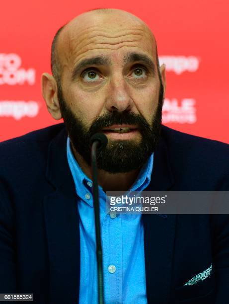 Sevilla's Sports director Ramon Rodriguez Verdejo aka Monchi speaks during a press conference held to announce that he will leave the Sevilla FC at...