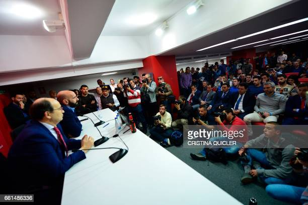 Sevilla's sports director Ramon Rodriguez Verdejo aka Monchi speaks next Sevilla president Jose Castro during a press conference held to announce...