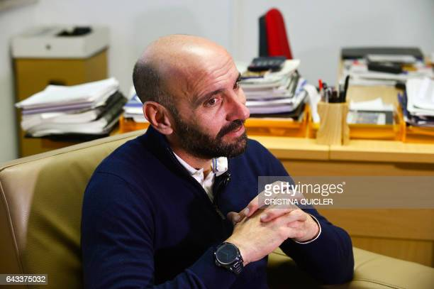 Sevilla's Sports director Ramon Rodriguez Verdejo 'Monchi' listen to quiestions at his office in the Ramon Sanchez Pizjuan stadium during an AFP...