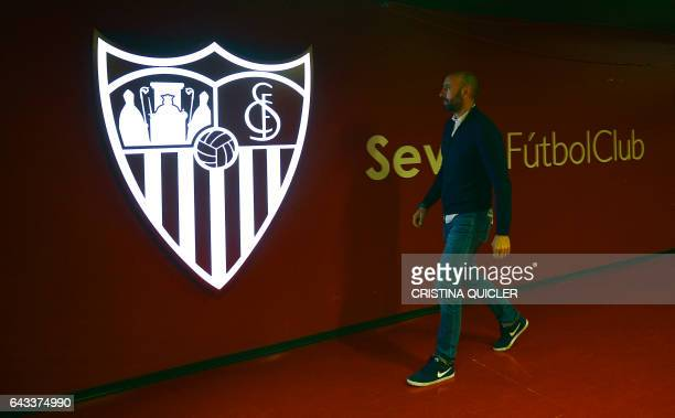 Sevilla's Sports director Ramon Rodriguez Verdejo 'Monchi' walks at the Ramon Sanchez Pizjuan stadium in Sevilla on February 8 2017 There are few...
