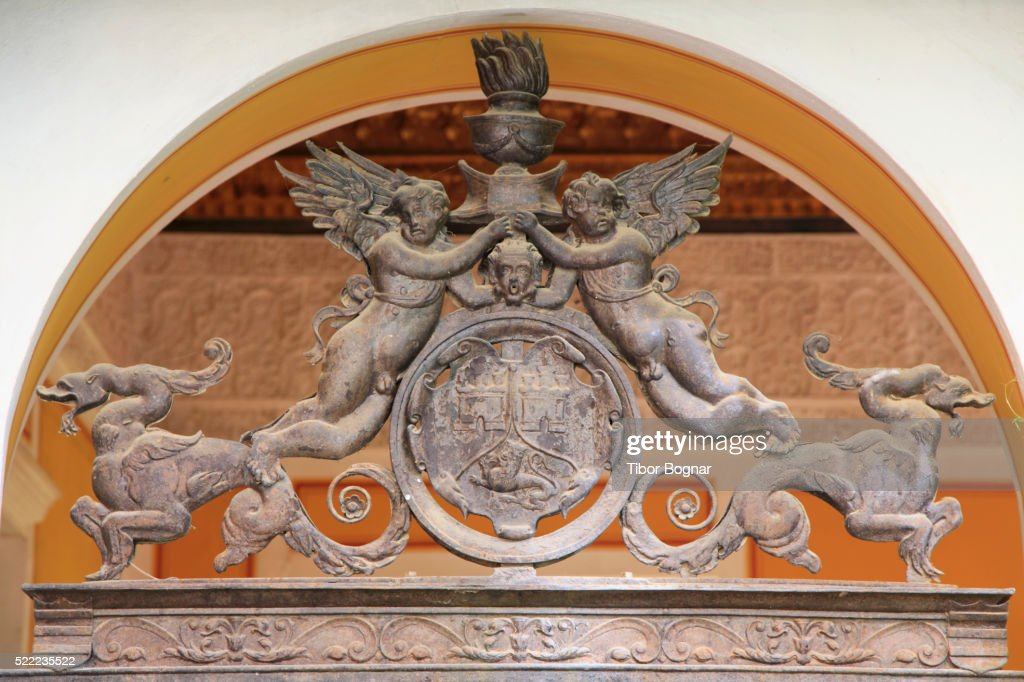 Seville, Casa De Pilatos, Patio, Statues : Stock Photo