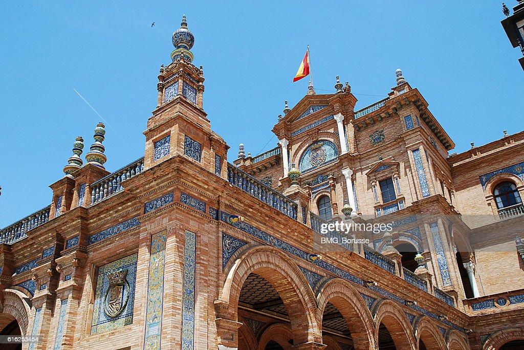 Seville (Spain): Plaza de España, Spain Square : Stock Photo