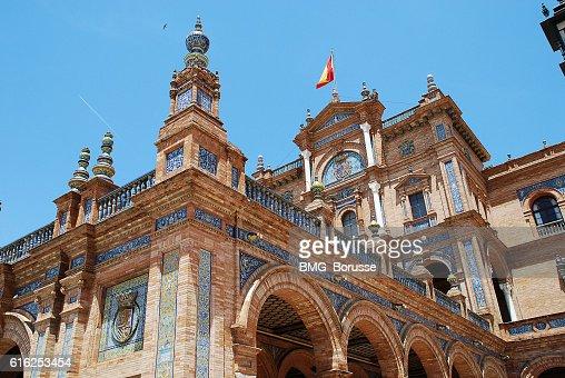 Seville (Spain): Plaza de España, Spain Square : Foto de stock