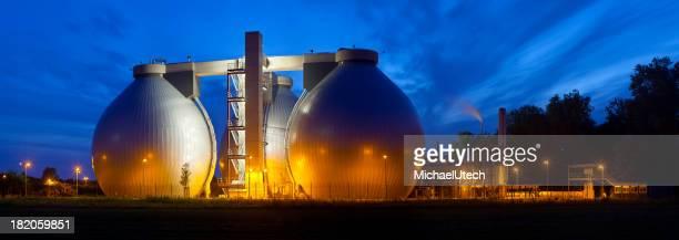 Sewage Plant At Night Panorama