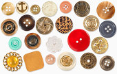 Mixed vintage Sewing Buttons with a Clipping Path.
