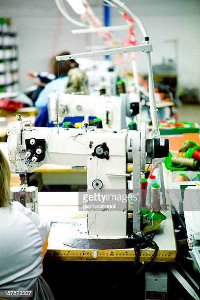 Sewing machine in line production