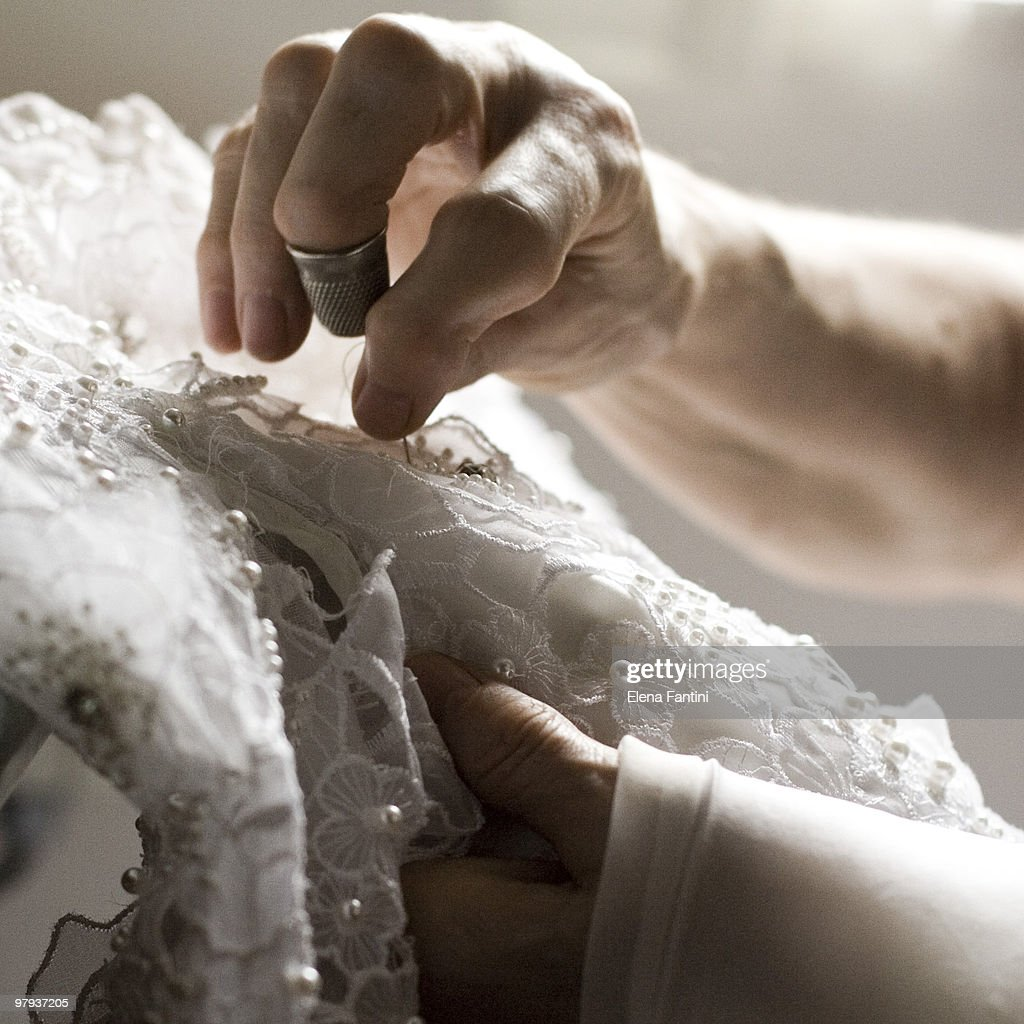 Sewing the wedding-dress