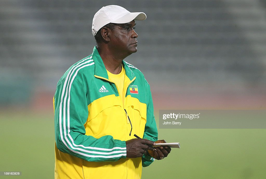 Sewnet Bishaw, coach of Ethiopia looks on during the international friendly game between Tunisia and Ethiopia at the Al Wakrah Stadium on January 7, 2013 in Doha, Qatar.