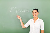 female teacher pointing at sex education written on the chalkboard