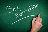 Woman hand writing 'Sex Education' on green blackboard
