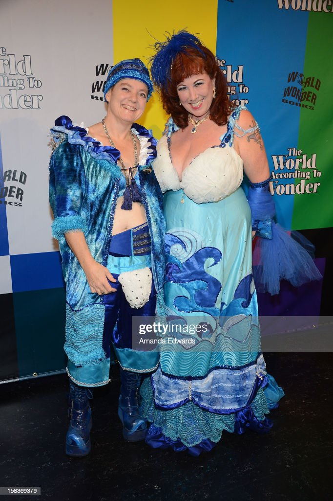 Sex educator Dr. Annie Sprinkle (R) arrives at the World Of Wonder book release party/birthday bash at The Globe Theatre at Universal Studios on December 13, 2012 in Universal City, California.