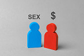 Sex for money, prostitution, intimate services. Man wants sex and  woman with  dollar sign. Concept