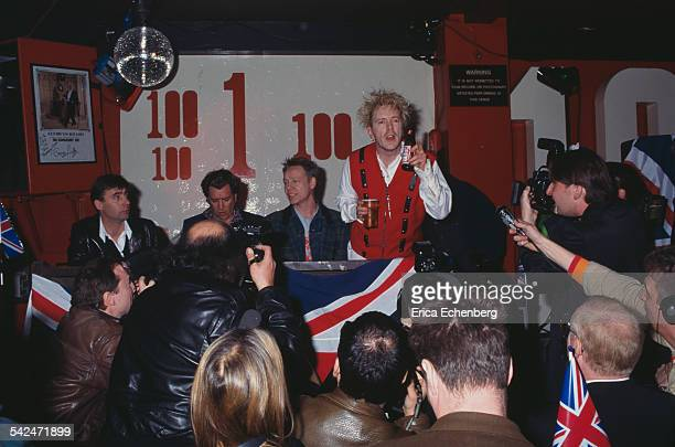 Sex Pistols Filthy Lucre Tour press conference 100 Club Oxford Street London United Kingdom March 1996 LR Glen Matlock Steve Jones Paul Cook Johnny...