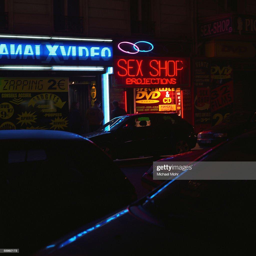 Sex shop sign at night. : Stock Photo