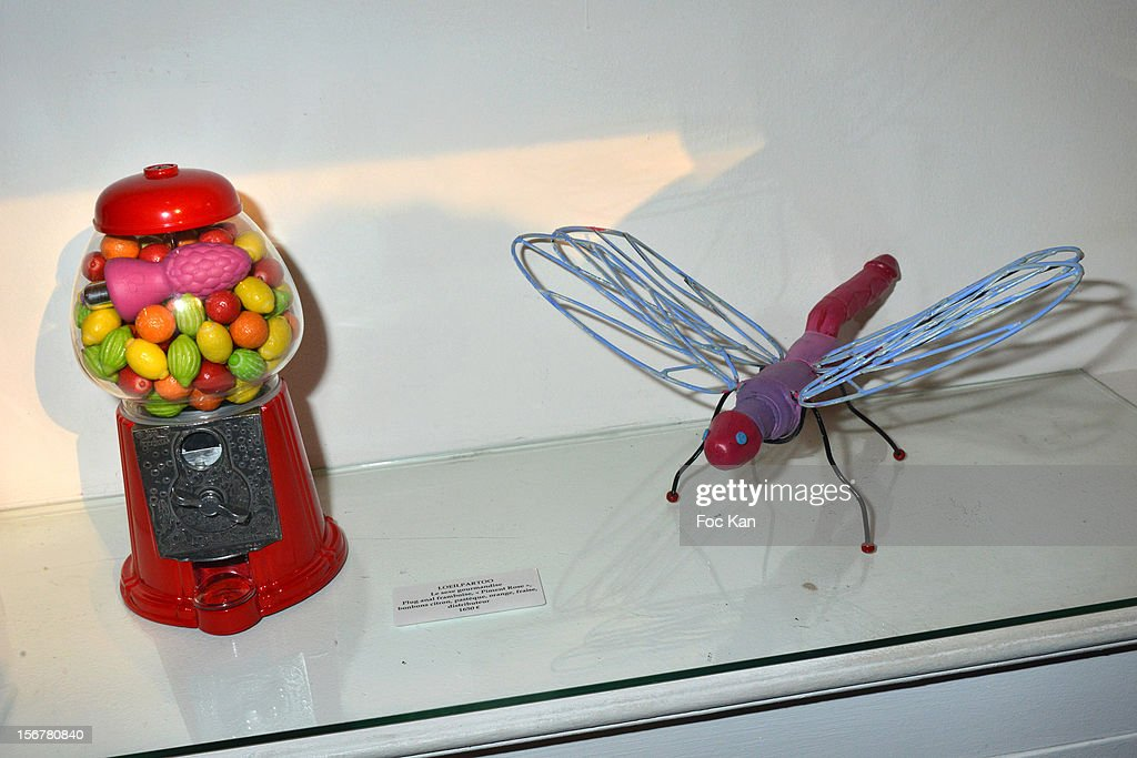 'Sexe Gourmandise' and a dragonfly by LÕOeilpartoo are exhibited during 'Oh My Gode' Act 2 Exhibition Preview Cocktail Hosted by G Spirits at Galerie Hubert Konrad on November 20, 2012 in Paris, France.