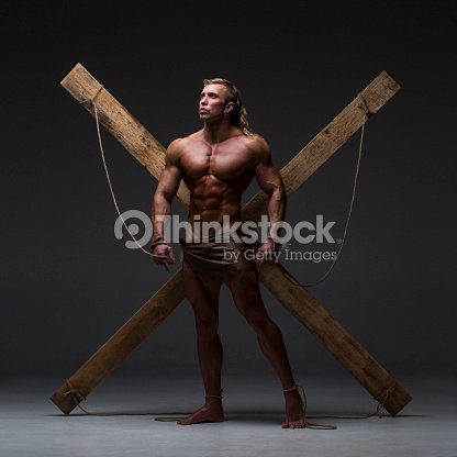 Sexual Naked Man Muscular Hands Tied Rope To Wooden Beams Stock ...