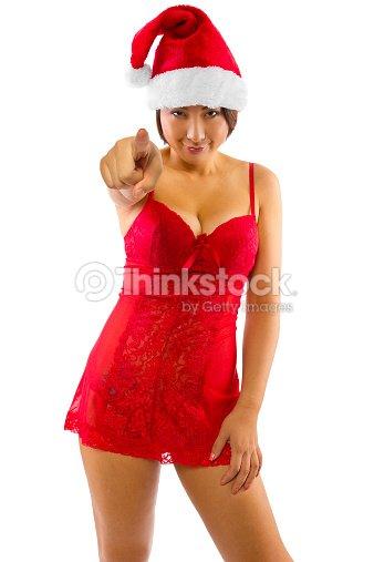 a72c286b5 Sexy Feminino Asiático Com Um Lingerie De Natal Foto de stock ...