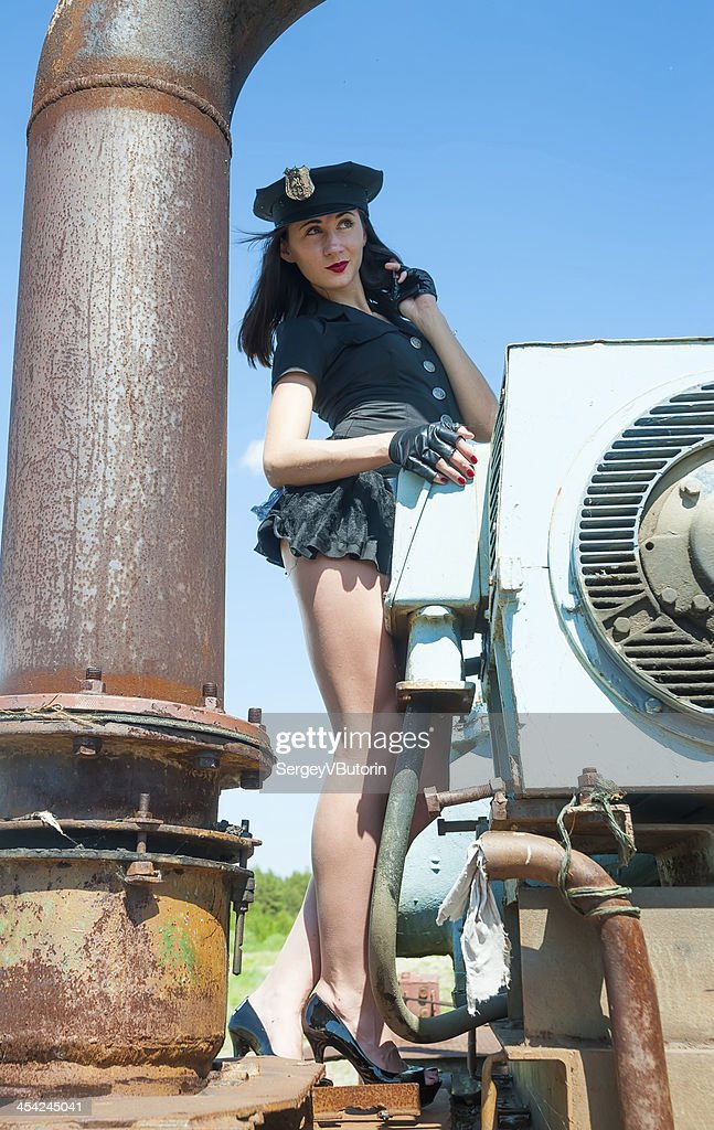 Sexy attractive police woman : Stock Photo