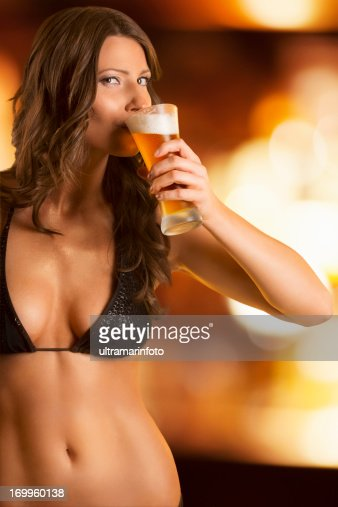 Royalty Free Photos Woman Drinking Beer