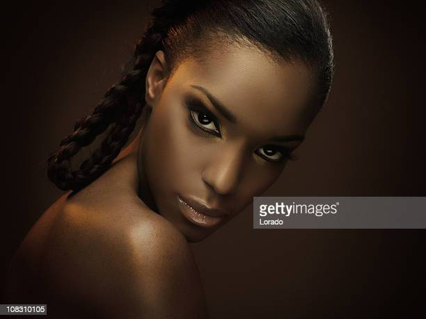 sexy black woman looking at camera