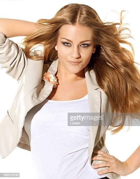 sexy blond fashion model posing