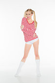 sexy blonde red and white shirt panties boy shorts cute