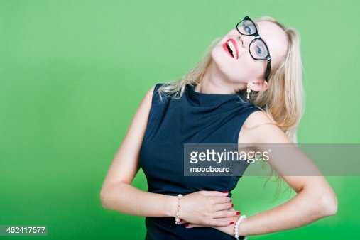 Sexy blonde woman wearing eye wear : Foto stock