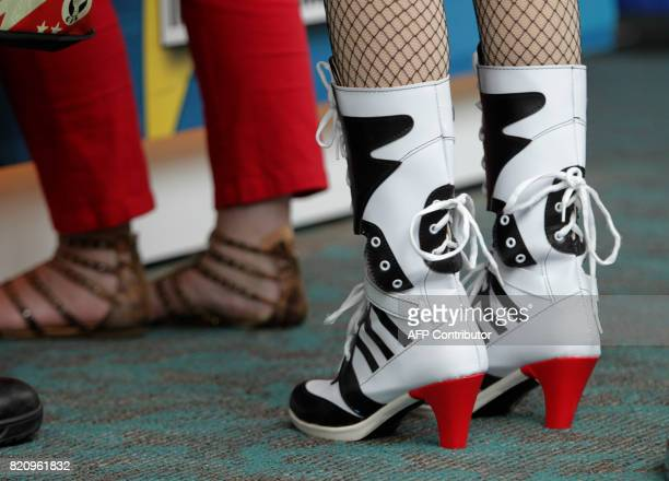 Sexy boots worn by Harley Quinn during ComicCon 2017 in San Diego California July 22 2017 / AFP PHOTO / Bill Wechter