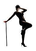3D illustration of a sexy female cabaret stage performer dancing with a cane.